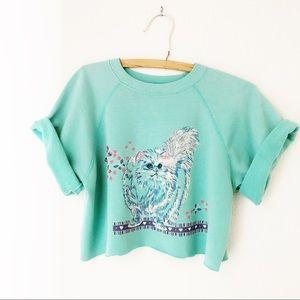 Vintage cropped cat sweatshirt fairy kei slouchy